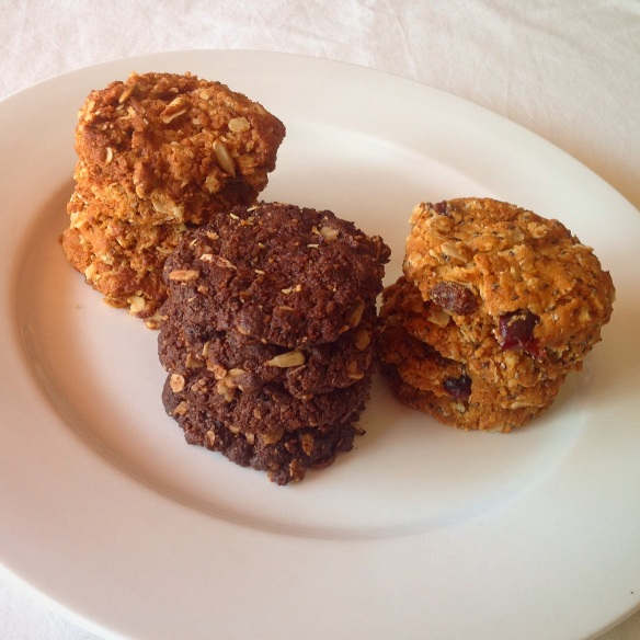 From left to right: Anzac Biscuits, Chocolatey Anzac Biscuits, Sultana, Cranberry and Chia Anzac Biscuits